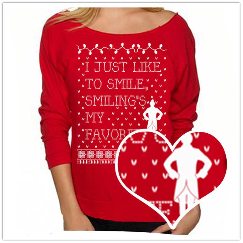 【9.9特价】欧美外贸爆款休闲T恤女 圣诞狂欢节印花长袖套头卫衣