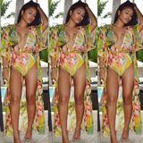 亚马逊新款欧美沙滩防晒服雪纺罩衫+花朵印花连体泳衣两件套泳装