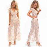 亚马逊新款外贸女装 透视性感深V夜店长裙 亮片沙滩罩衫连衣裙